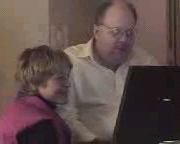 Stacy Young Brooks and Grady Ward, working on Bob Minton's speech at CULTInfo 1999. Picture is copyright 1999 CULTInfo.